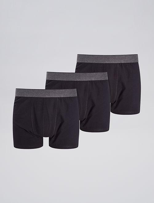 Lot de 3 boxers unis                                                     noir Grande taille homme