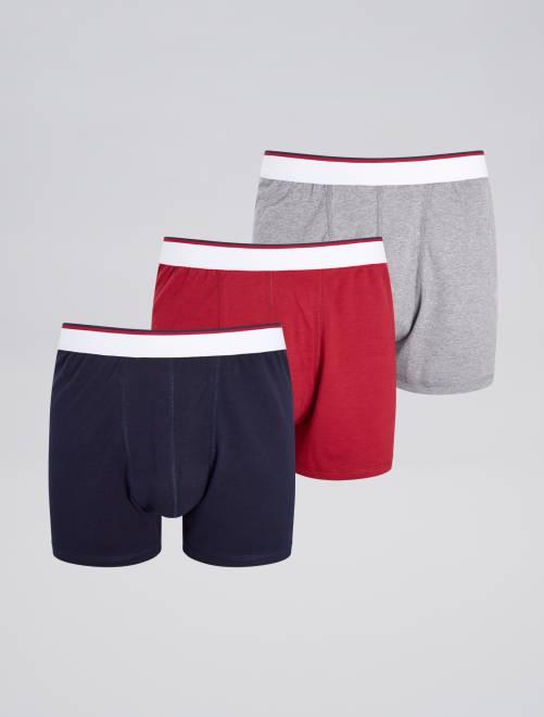 Lot de 3 boxers unis                             rouge/gris/bleu Grande taille homme