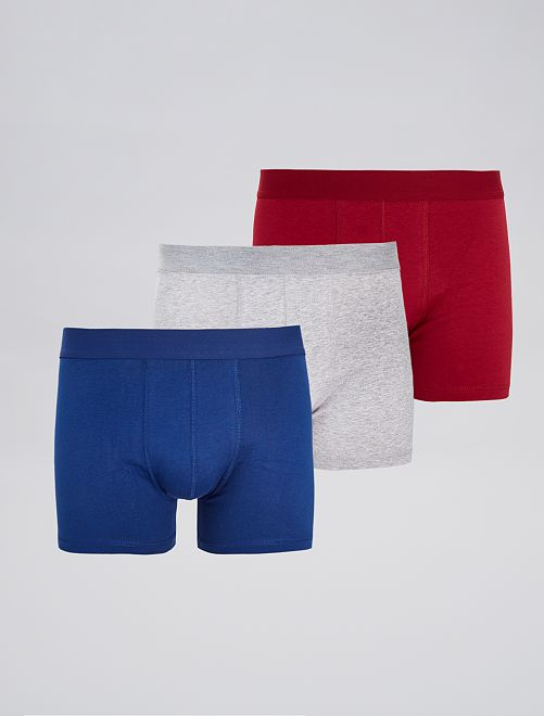 Lot de 3 boxers unis stretch                                                                                         ble/gr/rge Homme