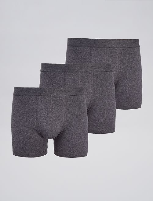 Lot de 3 boxers unis stretch                                                                 gris Homme