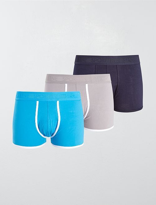 Lot de 3 boxers unis stretch                                                     gris/bleu/noir