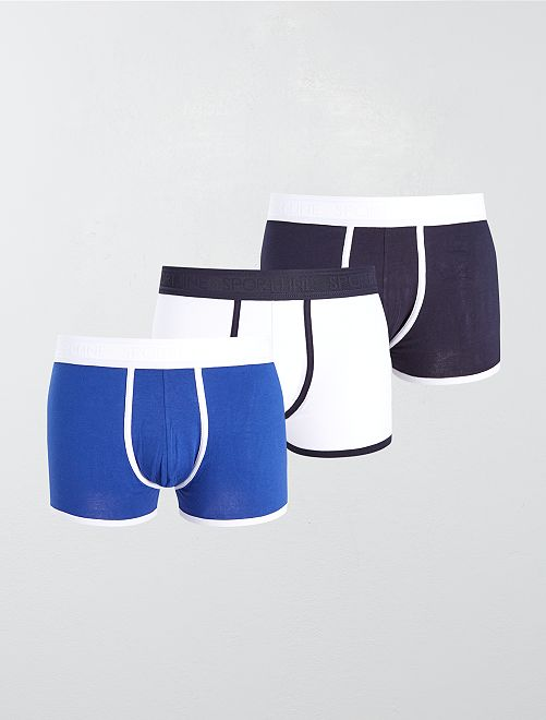 Lot de 3 boxers unis stretch                                                                             marine/bleu/blanc
