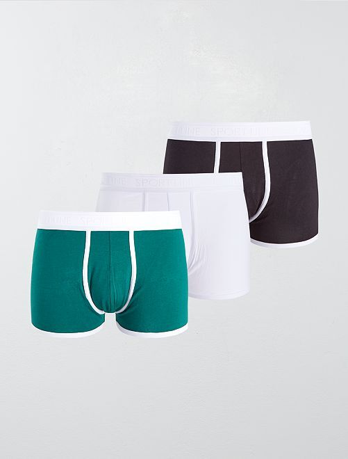 Lot de 3 boxers unis stretch                                                                 noir/blanc/vert