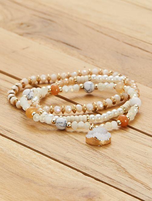 Lot de 3 bracelets                             blanc/rose