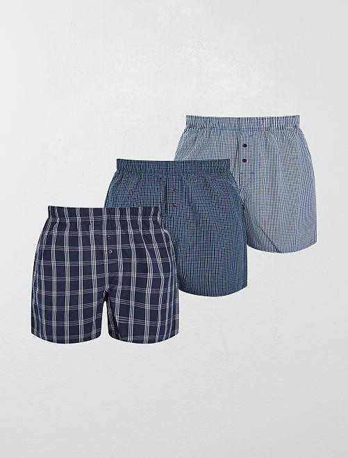 Lot de 3 caleçons pur coton                                                                                                                             bleu/carreaux Homme