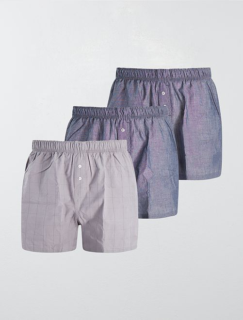 Lot de 3 caleçons pur coton                                                                                                                                                                 bleu/gris