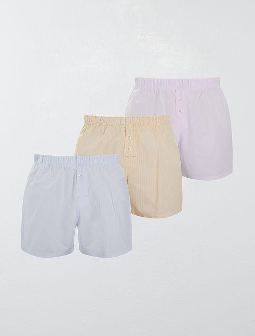 Lot de 3 caleçons pur coton                                                                                                                                                                 bleu/jaune/rose