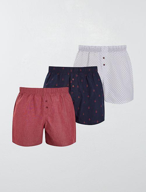 Lot de 3 caleçons pur coton                                                                                                                                                                 bleu/rouge/blanc