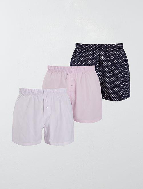 Lot de 3 caleçons pur coton                                                                                                                             rose/bleu marine Homme