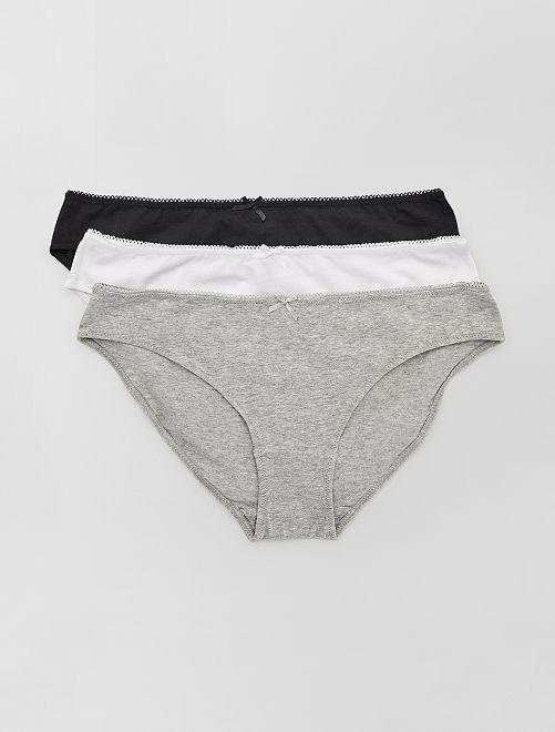 Lot de 3 culottes en coton                                          gris/noir/blanc