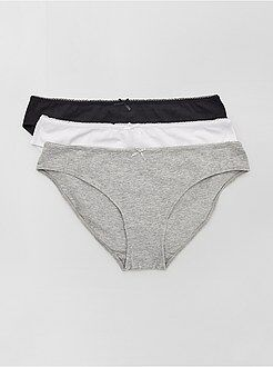 Culotte, shorty, string - Lot de 3 culottes en coton