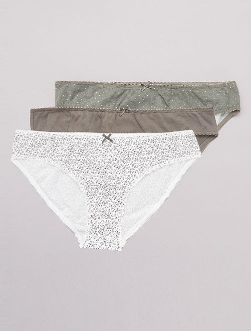 Lot de 3 culottes en coton                                                                                                                                         kaki/blanc Lingerie du s au xxl