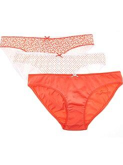 Culotte, shorty, string orange - Lot de 3 culottes en coton motif fantaisie