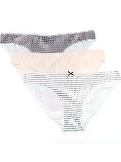 Culotte, shorty, string rose - Lot de 3 culottes en coton motif fantaisie
