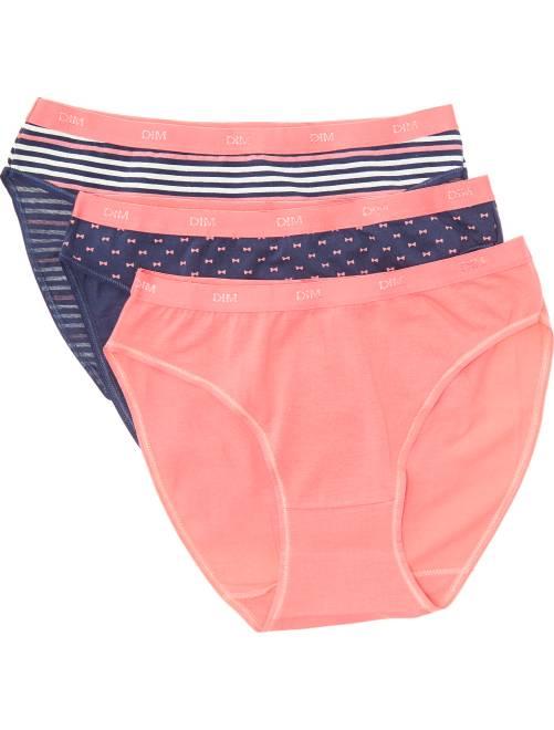 Lot de 3 culottes Les Pockets de 'DIM'                                                                                                     marine/rose/rayures/noeuds