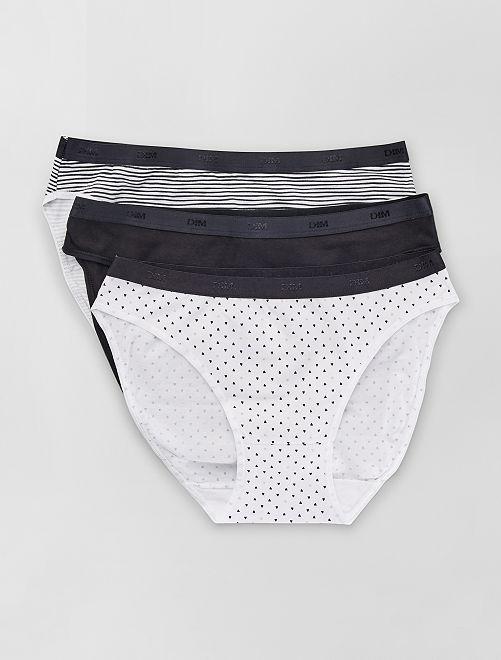 Lot de 3 culottes Les Pockets de 'DIM'                                                                                                     noir/blanc