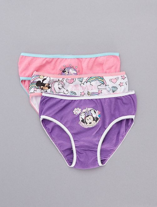 Lot de 3 culottes 'Minnie'                             blanc/rose/violet Fille