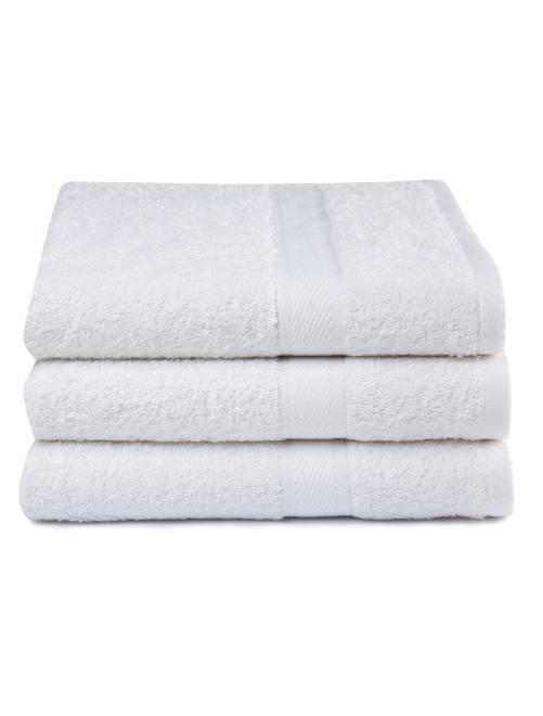 Lot de 3 draps de bain pur coton                                                     blanc