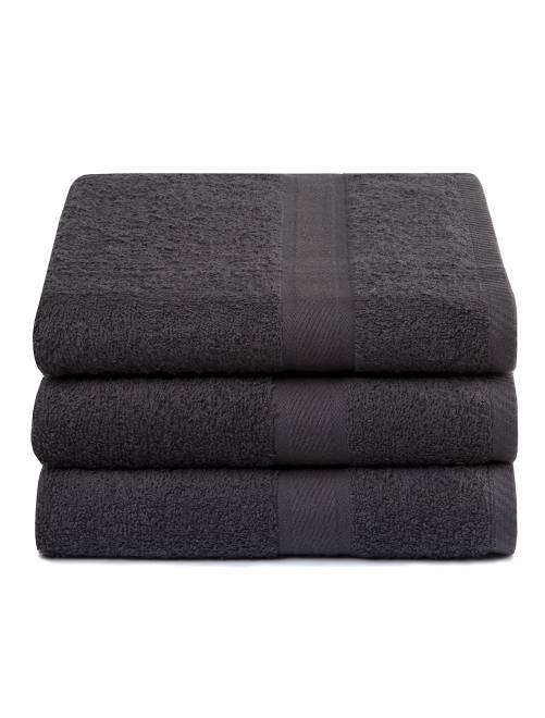 Lot de 3 draps de bain pur coton                                                     gris foncé