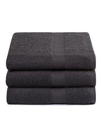 Lot de 3 draps de bain pur coton - Kiabi