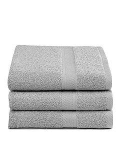 Serviettes de toilette - Lot de 3 draps de bain pur coton - Kiabi