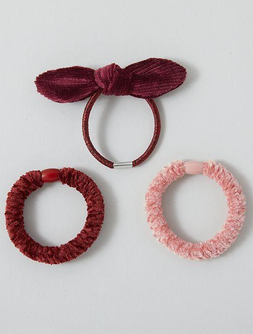 Lot de 3 élastiques en velours                                         bordeaux/rose