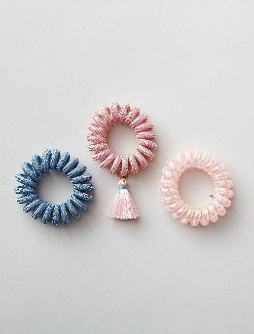 Lot de 3 élastiques torsadés                                                     bleu/rose