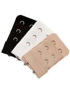 Accessoires lingerie - Lot de 3 extensions de soutien-gorge 2 crochets