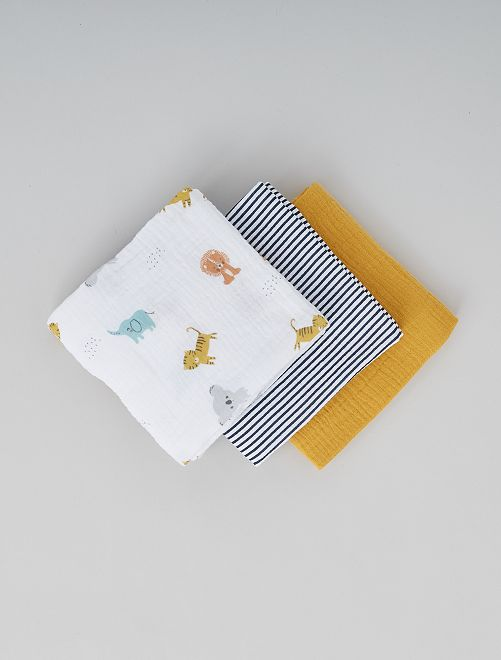 Lot de 3 langes avec motifs                                         blanc jaune