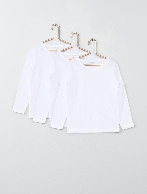 Lot de 3 maillots de corps en coton                             blanc
