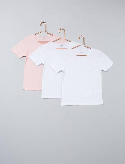 Lot de 3 maillots de corps en coton                             blanc/rose