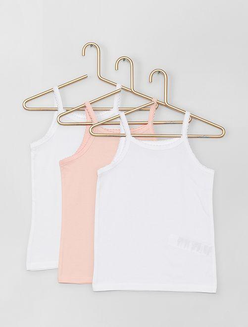 Lot de 3 maillots de corps en coton                             blanc/rose Fille