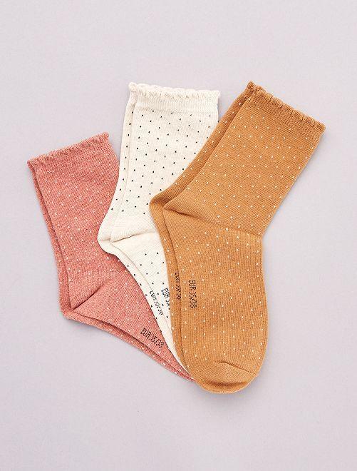 Lot de 3 paires de chaussettes à motifs                                                                                         orange