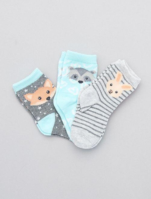 Lot de 3 paires de chaussettes 'animaux'                             bleu/gris