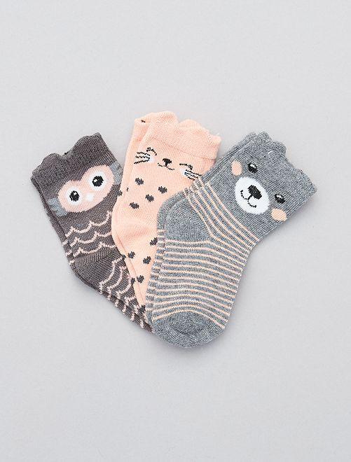 Lot de 3 paires de chaussettes 'animaux'                             rose/gris