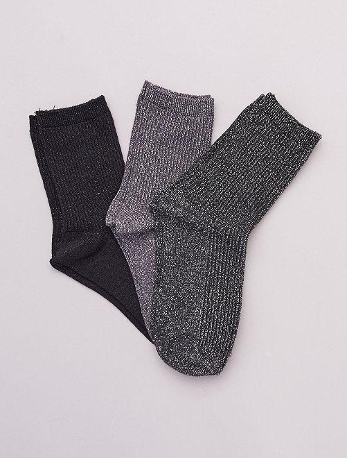 Lot de 3 paires de chaussettes avec fils brillants                                                                 noir/gris
