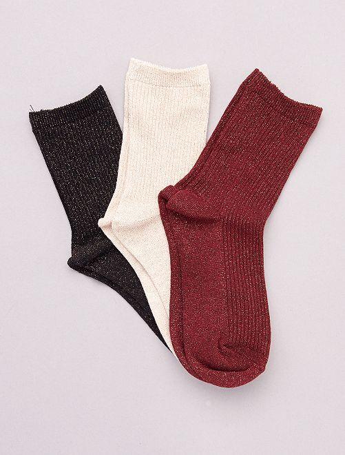 Lot de 3 paires de chaussettes avec fils brillants                                                                 rouge/rose