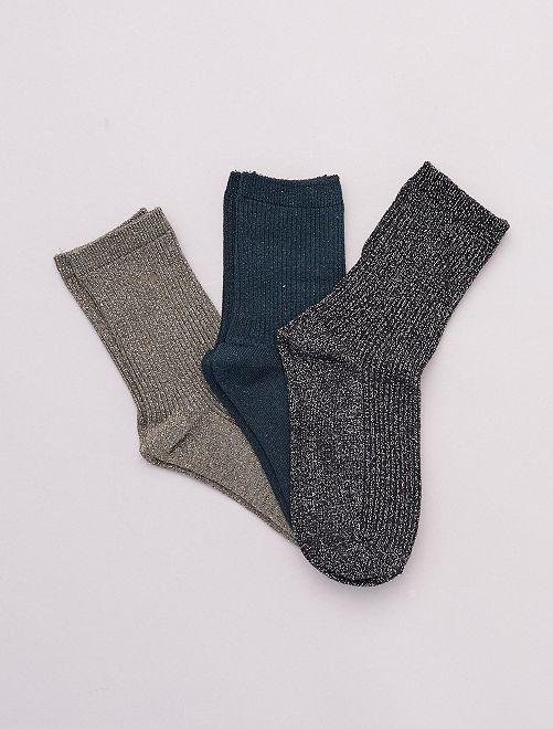 Lot de 3 paires de chaussettes avec fils brillants                                                                 vert