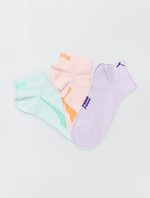Lot de 3 paires de chaussettes basses 'Puma'                                                                                                                             pêche/mauve/vert