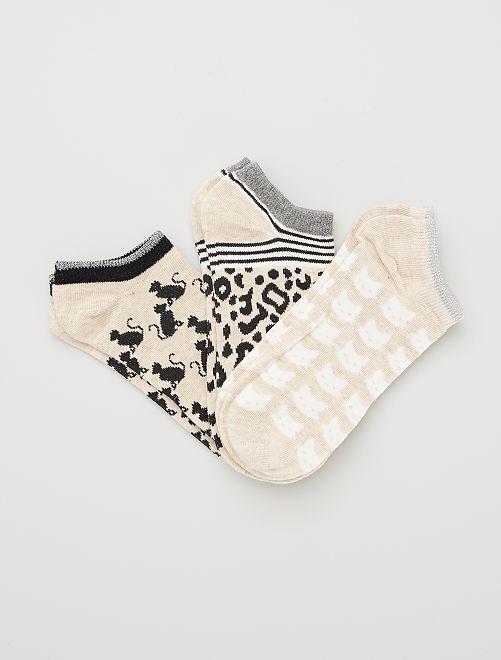Lot de 3 paires de chaussettes                                         beige