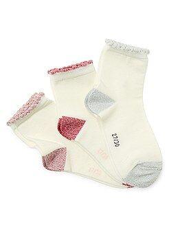 Fille 3-12 ans Lot de 3 paires de chaussettes bords brillants
