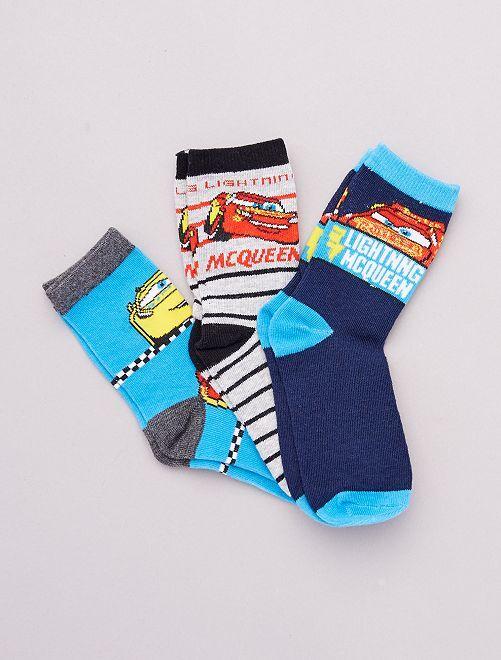 Lot de 3 paires de chaussettes 'Cars' 'Pixar'                                         bleu