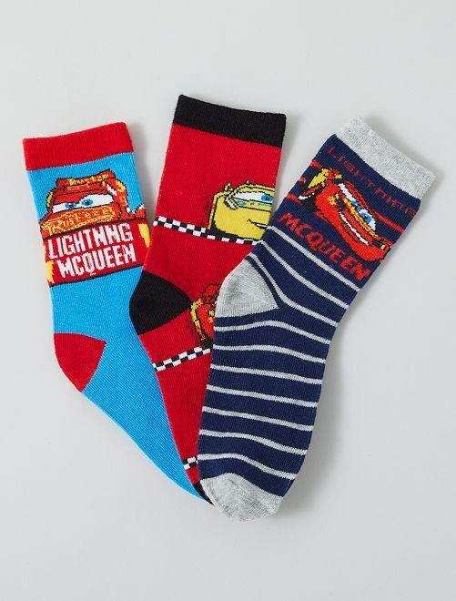 Lot de 3 paires de chaussettes 'Cars' 'Pixar'                                         bleu/rouge