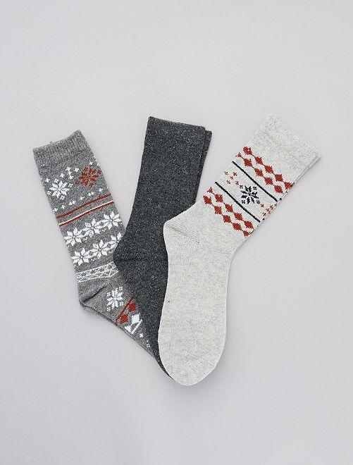 Lot de 3 paires de chaussettes chaudes                             gris