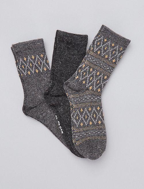 Lot de 3 paires de chaussettes chaudes                                         noir