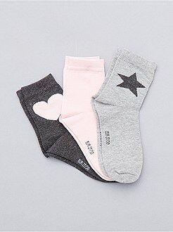 Fille 3-12 ans Lot de 3 paires de chaussettes coeur et étoile