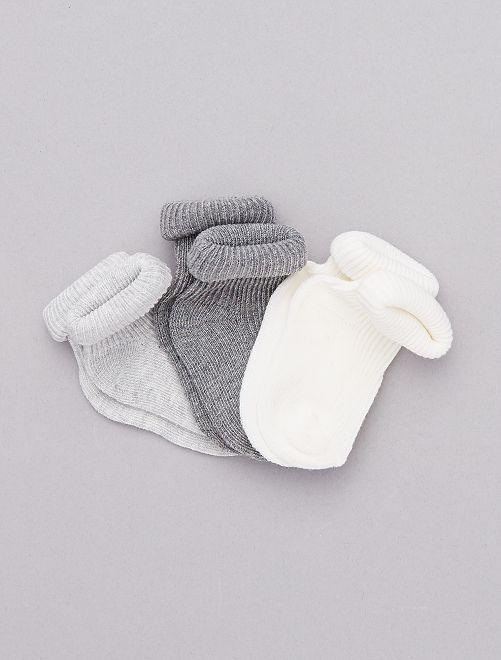 Lot de 3 paires de chaussettes coton bio                                                     blanc/gris