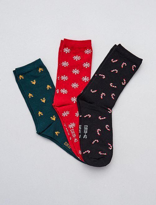 Lot de 3 paires de chaussettes de Noël                             noir/rouge/vert