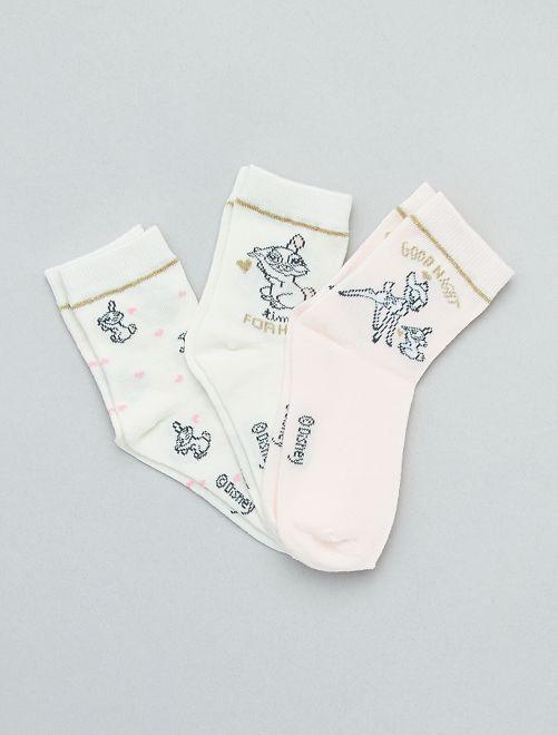 Lot de 3 paires de chaussettes 'Disney'                             écru/rose