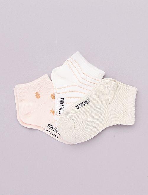 Lot de 3 paires de chaussettes 'éco-conception'                                                     écru/rose/beige